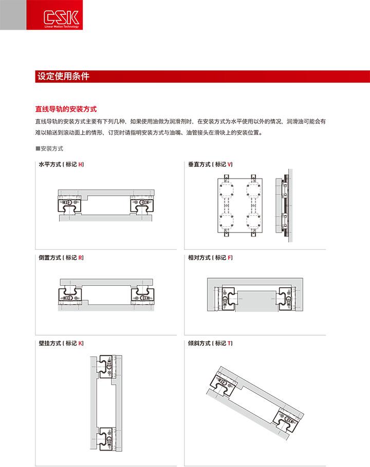 直线导轨的设定使用条件