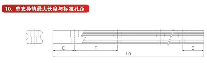 LMG系列精密直线导轨单支导轨最大长度与标准孔距