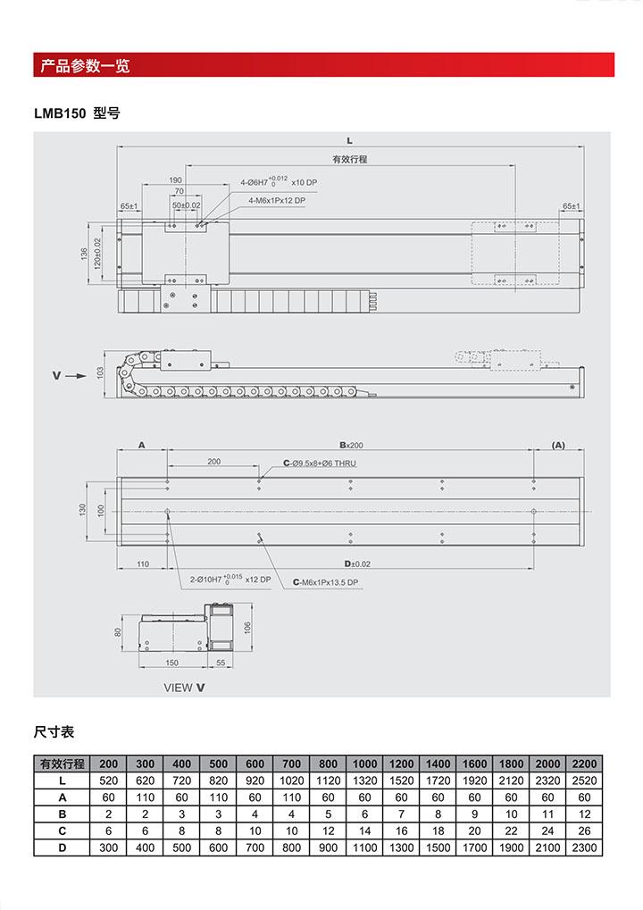 直线电机模组-LMB150型号产品参数一览介绍