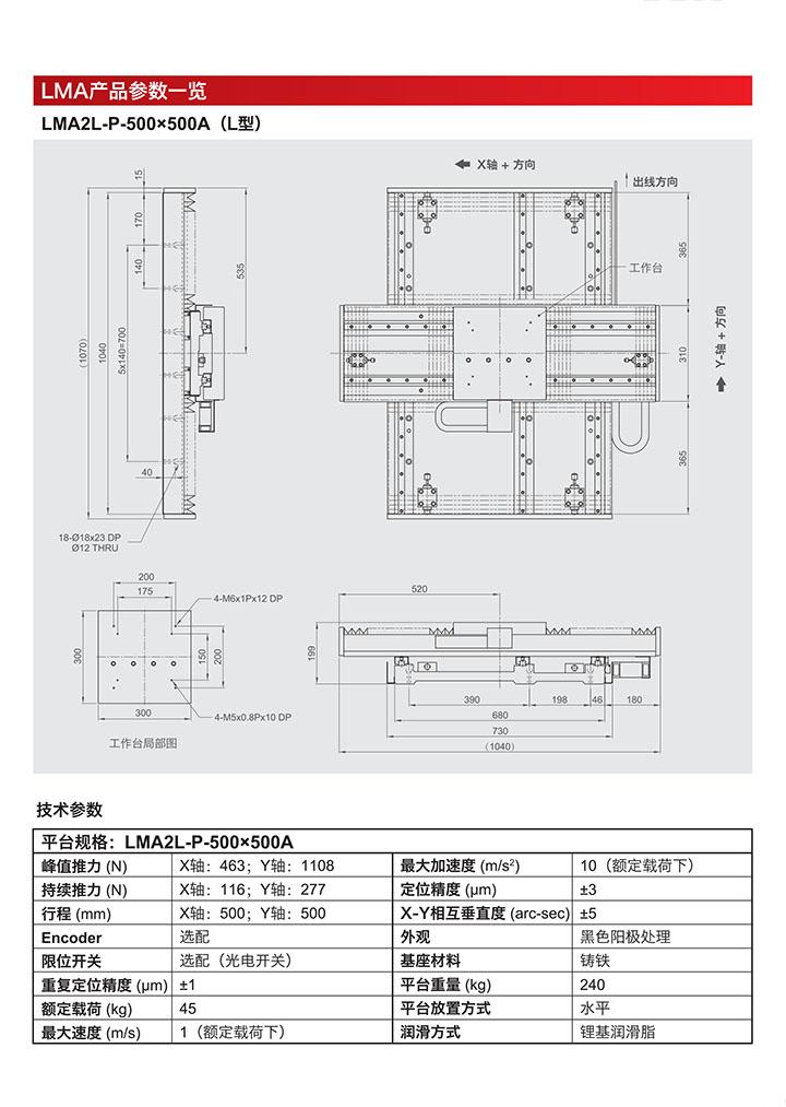 直线电机精密定位平台LMA产品参数一览,图纸与技术参数了解介绍